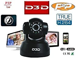 D3D Wireless HD IP Wifi CCTV [Watch ONLINE DEMO right now] indoor Security Camera (support Micro SD card) (Black Color)