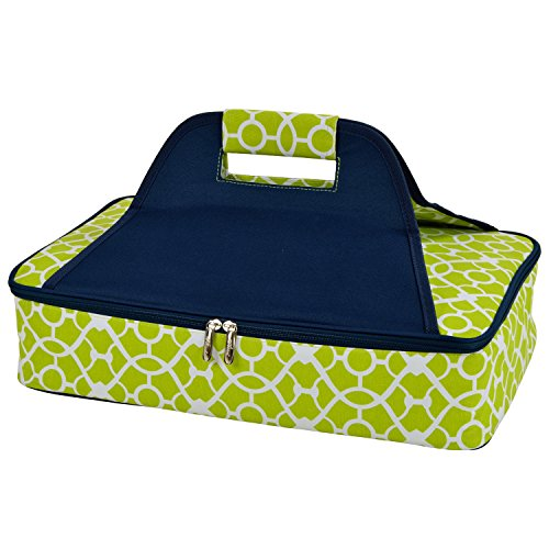 Picnic at Ascot Insulated Casserole Carrier to keep Food Hot or Cold- Trellis Green