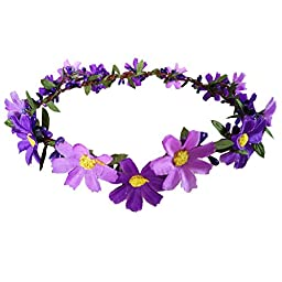 Boho Garland Hippy Daisy Flower Head Crown Headpiece Floral Hairband Hair Band Accessories Headband for Hippies Women Girls Holiday Headwear Wedding Photo Props Purple