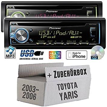 Toyota yaris p1 modèles 2003-2006 pioneer dEH-x3800UI-cD/mP3/uSB avec kit de montage