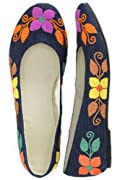 Guie Shoes Denim Floral Hand Embroidered Ballet Flats