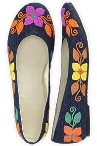 Guie Shoes Denim Floral Hand Embroidered Ballet Flats