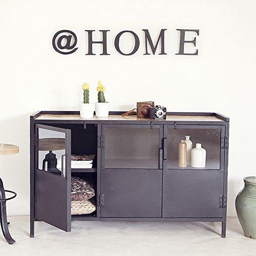 Industrie-Design-Kommode-Aufbewahrungsschrank-Sideboard-Metall-Schrank-schwarz