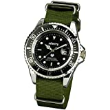 INFANTRY Mens Analogue Sports Wrist Watch Date Display Military Green NATO Strap Rotating Bezel