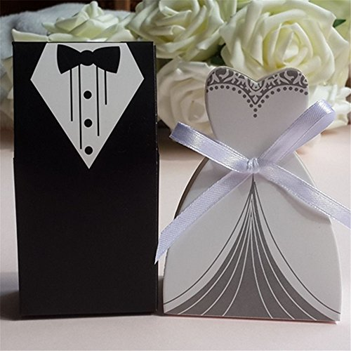 [MISS MINI 40 Pcs Simple Creative Groom Bride Costume Shape Candy Boxes Wedding Party Favor Gifts] (Simple Creative Costumes)
