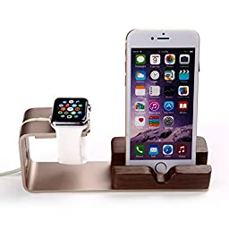 Apple Watch Charging Stand SiFREE iWatch Dock 2 in 1 Aluminum Wood Stand Phone Holder for iWatch Sports 38mm/ 42mm iPhone 5S 6S Plus (Gold)