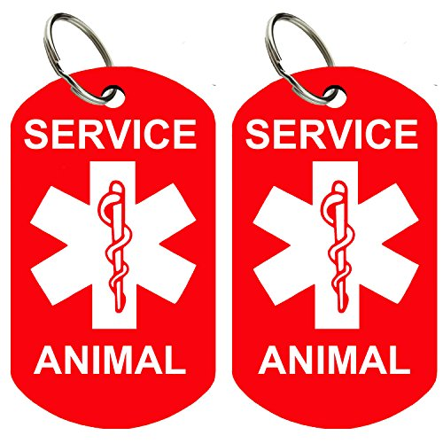 CNATTAGS - Set of 2 Service Animal ID Tags Double Sided Logo Premium Aluminum (Military Service Animal) (Double Sided Dog Id Tag compare prices)