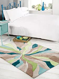 Large Quality HeavyWeight Modern Art Design Teal Green Area Rug in 120 x 170 cm (4' x 5'6'') Carpet by Lord of Rugs