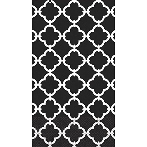 "Amscan Black Moroccan Tile Disposable 2 Ply Paper Guest Towels Tableware, 7.7 x 4.5"", White/Black"