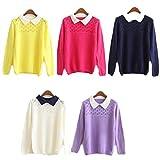 (ティーフラッシュ)T-Frash レディース プルオーバー ニット セーター シャツ カラー (紺)