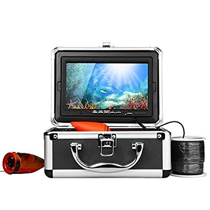 """Eyoyo 7"""" TV couleur LCD HD 600 lignes étanche 30m câble Rechargeable batterie (charge jusqu'à 7 heures de pêche) Fish Finder pêche enregistrement vidéo enregistreur caméra sous-marine avec Carry Case"""