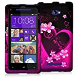 Purple Love Design Crystal Hard Skin Case Cover for HTC Windows Phone 8X