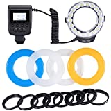 Neewer 18 Macro LED Ring Flash Light Includes 4 Diffusers (Orange, Blue, Oyster white, Transparent) for Sony A7, A7S, A7R, A500, A550, A560, A580, A900, A850, A200, A230, A290, A390, A33, A55, A65, A77 DSLR Cameras (will fit 49mm, 52mm, 55mm, 58mm, 62mm, 67mm, 72mm, 77mm Lenses)