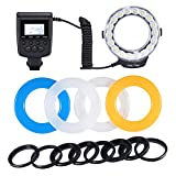 Neewer® 18 Macro LED Ring Flash Light Includes 4 Diffusers (Orange, Blue, Oyster white, Transparent) for Sony A7, A7S, A7R, A500, A550, A560, A580, A900, A850, A200, A230, A290, A390, A33, A55, A65, A77 DSLR Cameras (will fit 49mm, 52mm, 55mm, 58mm, 62mm