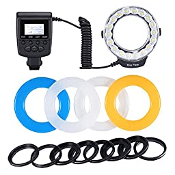 Neewer 18 Macro LED Ring Flash Light with 4 Diffusers(Orange/Blue/Oyster White/Transparent)for Sony A500 A550 A560 A580 A900 A850 A230 Cameras (Fit 49mm/52mm/55mm/58mm/62mm/67mm/72mm/77mm Lenses)