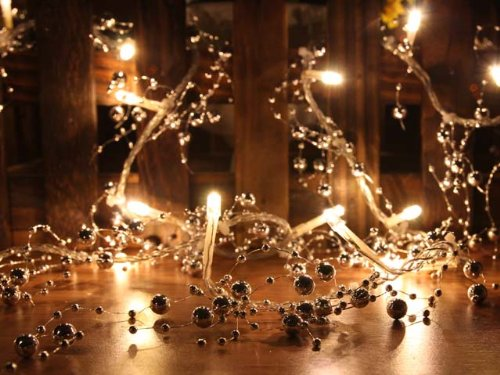 Warm White LED String Lights with Silver Beads, Christmas Lights, Party Lights (Free Shipping)