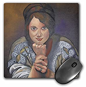 Taiche - Acrylic Painting - Women - Thinking Of You - art nouveau, brown, fashion, portrait, pose, realism, social history - MousePad (mp_46736_1)