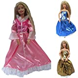 Top Quality Set of 3 pink, blue & gold Barbie Sindy sized doll's ball gown evening wedding fairy dresses, (doll not included, Not Mattel) - by Fat-Catz-copy-catz