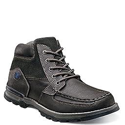 Nunn Bush Men\'s Pershing Moc-Toe Boot,Charcoal Leather,US 10 W