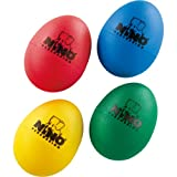 NINO Plastic Egg Shaker Assortment of 4 Pieces Blue, Green, Red & Yellow