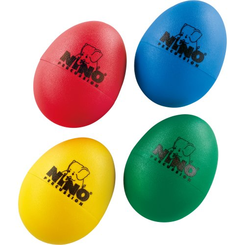 Nino Percussion NINOSET540 Plastic Egg Shakers, 4 Assorted Colors (Pack of 4)