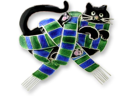Cat in Scarf All Wrapped Up Sterling Silver & Enamel Pin