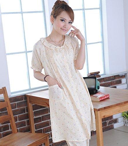 ガーゼのような優しい綿素材のマタニティ兼授乳パジャマ、長め丈。授乳口つき 優しい黄色M715
