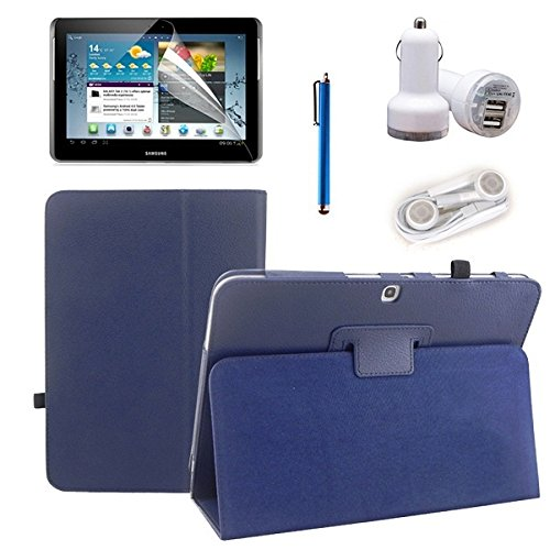 Icrown(Tm) New Package For Samsung Galaxy Tab 3 10.0 P5200 - Lightweight Pu Leather Case (Deepblue), Stylus Pen, Screen Protector, Car Charger And Earphone