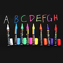 Set 8 Colors Fluorenscent Dry Wipe Liquid Chalk Maker Blackboard / Window Pens