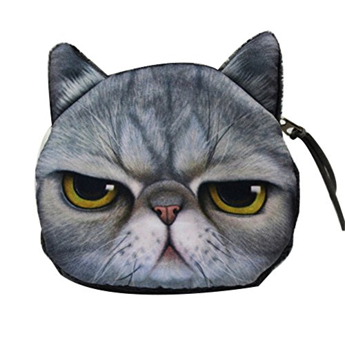 Uming® Bunte Fashion Arbeiten Sie Cute Animal nette Tier Frauen Geldbörse Wallet Purse Kleines Mädchen Mit Zipper Reißverschluss Beutel Baumwoll material Cloth Fabric Stoff Geldbörse Portemonnaie | Katze-Angry