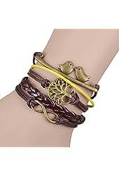 Jiayiqi Women's Cute Bird Bracelet Leather Rope Multilayer Charm Bracelet Bangle