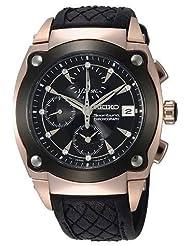 Seiko Men's SNDZ80 Sportura Black Diamond Dial Leather Strap Watch