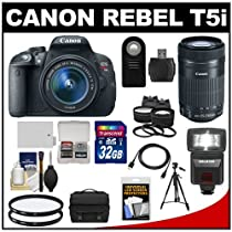 Canon EOS Rebel T5i Digital SLR Camera & EF-S 18-55mm IS with EF-S 55-250mm IS STM Lens + 32GB Card + Battery + Case + Flash + Tele/Wide Lenses Kit