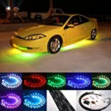 Fuloon (TM) 7 Color LED Under Car Glow Underbody System Neon Lights Kit 48&quot; x 2 & 36&quot; x 2 w/Sound Active Function and Wireless Remote Control