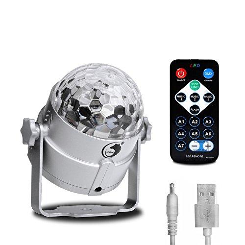 Mini Disoc Rotating Crystal Ball Llight LED RGB Stage Lighting For KTV Xmas Party Wedding Show Club Pub DJ By U`King (3 LED Silver with Remote)