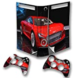 Cars 10101, Red Car, Wrap Around Skin Sticker Decal Vinyl Wrap Cover Protector with Leather Effect Laminate and Colorful Design for Xbox 360 Fat Game Console and 2 Controllers.