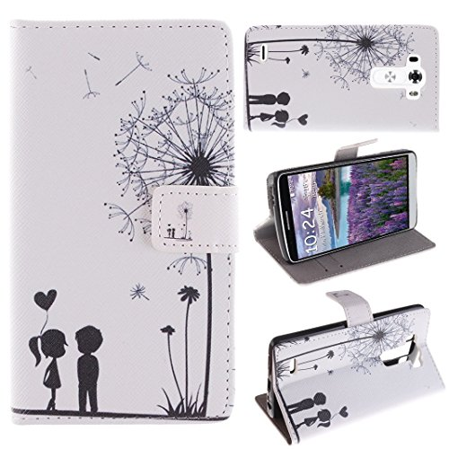 LG G3 Chiusura magnetica Custodia , Moon mood® Flip Wallet Pelle PU Custodia Per LG G3(Colorful strisce quadrate) (Nero Bianco Dandelion Ragazzo Ragazza Amanti)