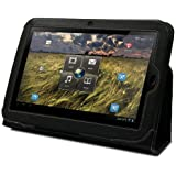 GreatShield Leather Premium Flip Stand Protective Folio Case for Lenovo IdeaPad K1 10.1-Inch Android Tablet (Black)