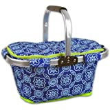 DII Insulated Market Basket or Picnic Tote for Perfect for Summer Picnics, Farmers Markets and BBQ's, Grocery Shopping Garden Lattice, Blue/White