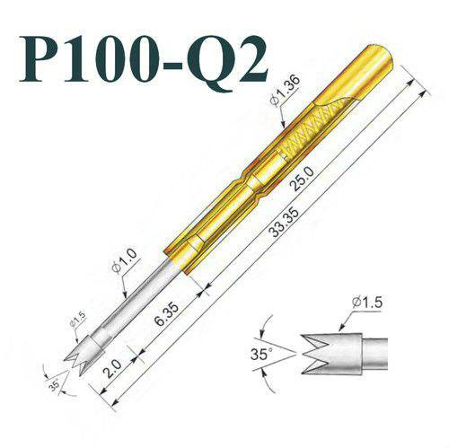 200 Pcs P100-Q2 Test Probe Metal Golden Yellow Detector Instrument To Detect The Needle Pogo Pin
