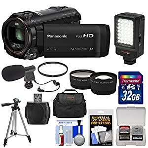 Panasonic HC-V750K HD Wi-Fi Video Camera Camcorder with 32GB Card + Case + LED Light + Mic + Tripod + Filter + Tele/Wide Lens Kit