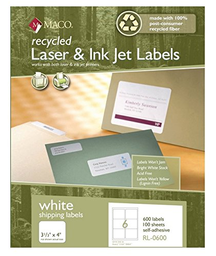 MACO Recycled Laser/Ink Jet White Shipping Labels, 3-1/3 x 4 Inches, 6 Per Sheet, 600 Per Box (RL-0600)