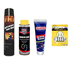 Combo of 4 Items - FMS Multi Purpose Foam Cleaner 600 ml. & Moto Lube Radiator Flush 300 ml. & Waxpol Scratch Remover 150 gr. & Auto Pearl Tyre Air Alert