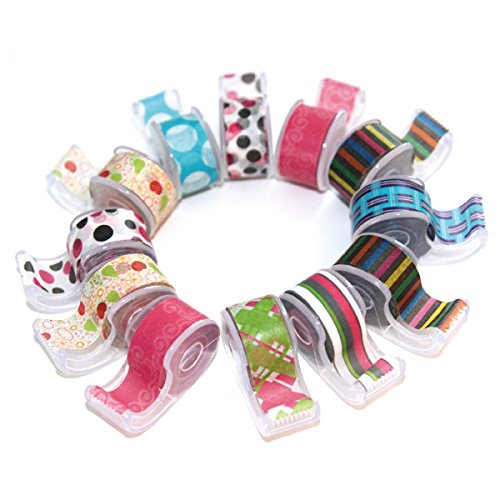 Polar Bear® Washi Masking Tape With Cute Dispenser, 0.47″x5.5 Yards each, Pack of 12pcs(total 66 yards), assorted colors,(WT-1255)