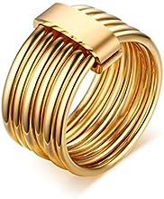 Comprar AnaZoz Joyería de Moda Para Mujer Acero Inoxidable Anillo Oro Geometría Multi-Filas Anillo de Banda Boda Tamaño 12-20