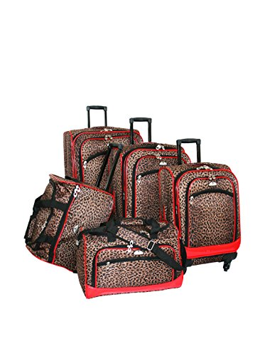 American Flyer AnimalPrint 5-Piece Spinner Luggage Set, Leopard/Red