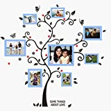 UberLyfe Special Memories Tree Wall Sticker cum 8 Blue Photo Frames (Wall Covering Area: 115cm x 110cm) - WS-000786