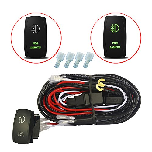 MICTUNING 12ft LED Light Bar Wiring Harness - 40Amp Relay Laser GREEN ON-OFF Rocker Switch (FOG LIGHTS) (Dual Light Bar Harness compare prices)