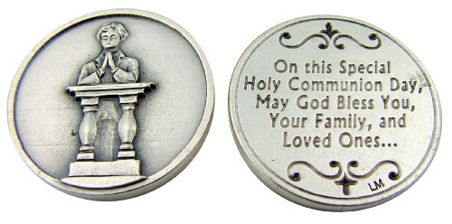 Religious Gift First Holy Communion Kneeling Praying Boy Pocket Charm Keepsake Token - 1
