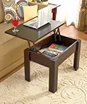Contemporary Lift-Top Wooden Sofa End Coffee Table with Storage Compartment, Brown